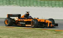 Heinz-Harald Frentzen boosts the OrangeArrows team. Image by Arrows. Click here for a larger image.