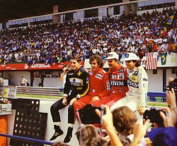 Four greats: Senna, Prost, Mansell and Piquet. Image by Eileen Buckley.