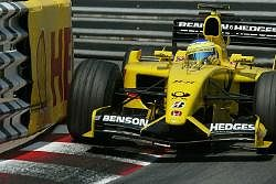 Giancarlo Fisichella had the measure of the Renault in front at the end of the race, but there was no way past - still a good result for Jordan though. Image by Jordan. Click here for a larger image.