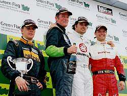 The podium for the Feature race - Vauxhall are not quite as dominant as they were. Image by Kelvin Fagan. Click here for a larger image.