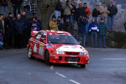 Tommi Makinen brought the new Mitsubishi Lancer Evolution to 1st place in the Monte Carlo Rally - click here to go to Mitsubishi's Motorsport page