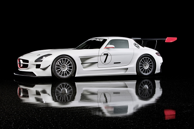 Gullwinged SLS AMG racer unveiled. Image by Mercedes-Benz.