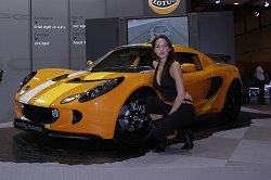 Not only were Lotus showing off the new Toyota-powered Exige and Elise 111R, they also had the nicest women on the stand. Image by Mark Sims.