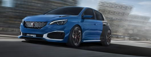 Peugeot 308 R Hybrid is go. Image by Peugeot.