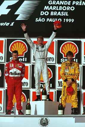 Mika Hakkinen is ecstatic at his first win this season
