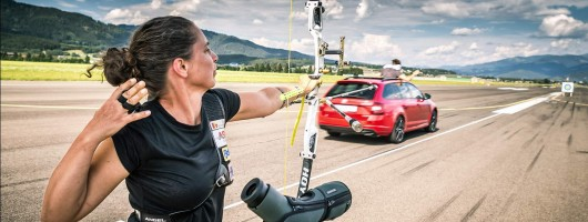 Skoda hits target for world-record arrow attempt. Image by Skoda.