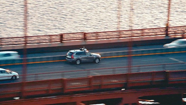 Self-driving Volvos hit the road. Image by Volvo.